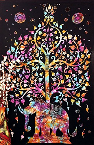 tree-elephant-multi-tapestry-indian-tapestry-hippy-tapestry-210x140cms-by-craftozone