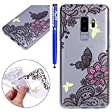 Cover Samsung Galaxy S9 Plus, EUWLY Samsung Galaxy S9 Plus Custodia Trasparente Silicone TPU Case Ultra Sottile Morbido Flessibile Crystal Clear Silicone Custodia Cover Anti-Graffio Anti Scivolo Antiurto Bumper Caso Shock-Absorption Protezione Posteriore Copertura Ultra Slim Transparent con Disegni Colorato Dipinto Silicone Gel Gomma TPU Protettiva Cover Case per Samsung Galaxy S9 Plus + 1x Stilo Penna Touchscreen, Fiori Farfalle