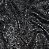 Tissu suédine noir effet cuir stretch / tissu faux daim noir - épaisseur moyenne (disponible dès 20cm**)