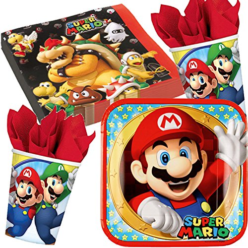 * SUPER MARIO BROS * mit Teller + Becher + Servietten + Deko // Kindergeburtstag Kinder Set Geburtstag Party Mottoparty Motto Luftballons Luigi Toad Bowser ()