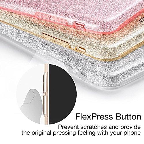 iPhone 7 Plus Hülle, ESR® Glitzer Hybrid Schutzhülle [Drei Schichten in einem] [Weiche TPU Abdeckung + Glitzer Papier + PC innere Schicht] iPhone 7 Plus Bumper Case Hülle für iPhone 7 Plus (5,5 Zoll)  Silber