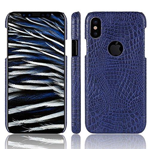 iPhone X Custodia, CHENXI Sottile Coccodrillo Texture Hard PC Indietro Custodia protettiva Cover Case per iPhone X 5.8 inch Viola Viola