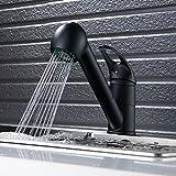 Robinets pour évier, douchette extensible, noir moderne, levier unique, bec pivotant, robinet mitigeur de cuisine