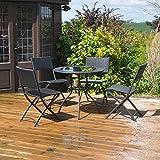 kingfisher fsrset rattan effect garden patio set black 5 piece