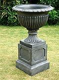 Grand pot de jardin Urne Regency & socle/effet pierre