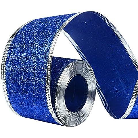 33ft/10meters con purpurina cinta de Navidad corona regalo Weeding artes Oficios, azul