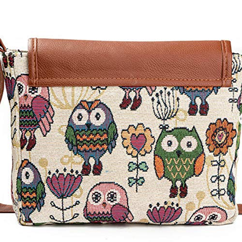 OneMoreT 2019 Damen Messenger Bag Canvas Owl Animal Printed Crossbody Shoulder Bag Small Ladies Handbag Flap Bag for Girls Brown A (Owl Bags Messenger)