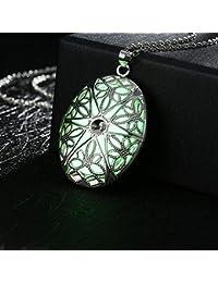 Luziang Collar Aleación de Moda Collar Luminoso Plata joyería-Foto Marco Colgante Colgante la decoración