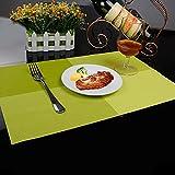Joyoldelf De estilo europeo PVC diseño de rombos disfunción manteles individuales para mesa para tacos alfombrilla de Protector de comedor decoración verde juego de 6