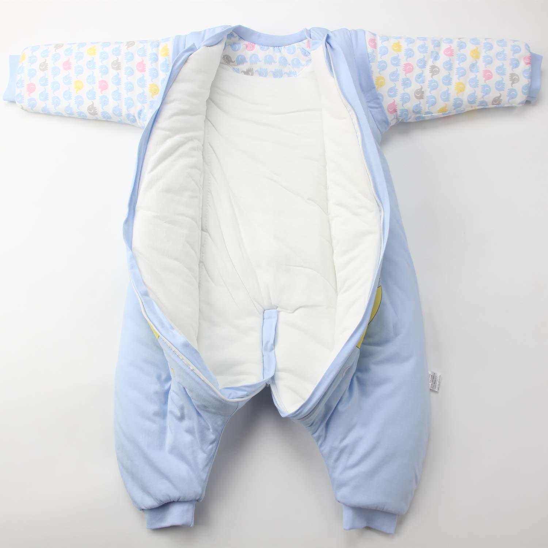 manga larga saco de dormir de invierno con pies unisex para ni/ñas mono azul Balu//3.5 Tog Verdickt Talla:M//Koerpergroesse 75-85cm Saco de dormir para beb/é con piernas forrado c/álido de invierno