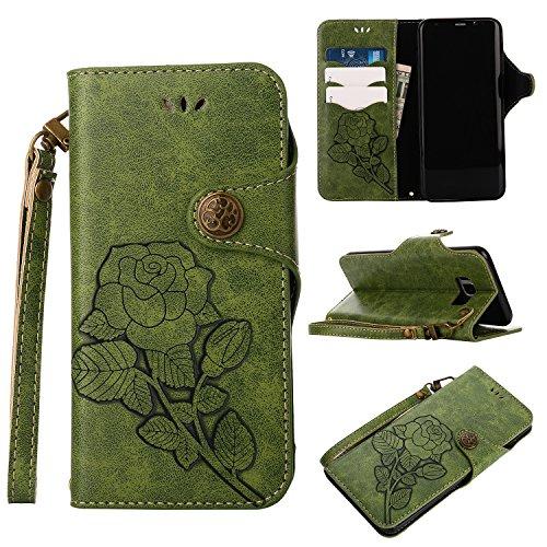 Funda Samsung Galaxy S8 Plus, Ecoway Serie retro Cuero de la Rosas PU Leather Cubierta, Función de Soporte Billetera con Tapa para Tarjetas Soporte para Teléfono para Samsung Galaxy S8 Plus- VERDE