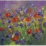 Bild Blumen Blumenwiese modern Malerei Kunst Original Ölmalerei Gemälde 15x15 cm