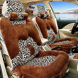MIAO Funda de cojín de asiento de coche, asientos de invierno cinco coches Universal suave y cómodo patrón de leopardo cojín de asiento de felpa corta con reposacabezas y soporte lumbar , coffee color