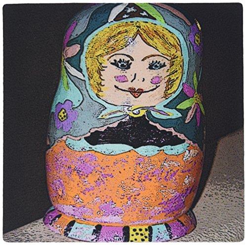 3drose LLC 20,3x 20,3x 0,6cm Maus Pad, eine russische Stapeln, Puppe bemalt als Frau in mint, orange, und Pink (MP _ 48307_ 1)