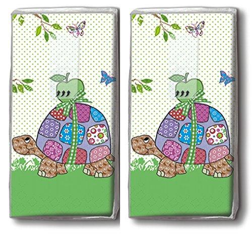 20 Taschentücher (2x 10) Lustige Schildkröten / Kinder / Motivtaschentücher