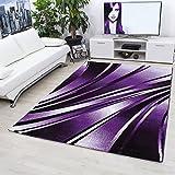Teppiche modern designer für Wohnzimmer,kurzflor Wellenteppich meliert,mit modernen Farben wie Violett und Weiss_9210, Maße:120 x 170 cm
