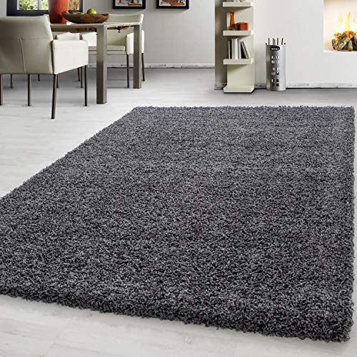 Teppich Hochflor Shaggy Teppich Unicolor einfarbig Teppich farbecht Pflegeleicht, Maße:140 cm x 200 cm, Farbe:Grau