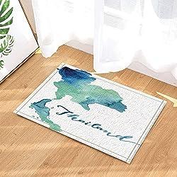 yinyinchao Wanderlust Bad Vorhang, Aquarell Karte Asiatische Thailand Badteppiche, Rutschfeste Fußmatte Bodeneingänge Indoor Haustürmatte, Kinder Badematte, 40x60CM, Bad-Accessoires