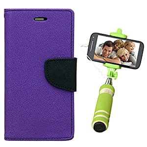 Aart Fancy Diary Card Wallet Flip Case Back Cover For Nokia 520 - (Purple) + Mini Aux Wired Fashionable Selfie Stick Compatible for all Mobiles Phones By Aart Store