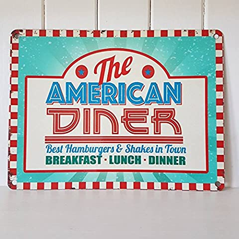 Vintage Retro 50s Shabby Chic Style Metal Wall Sign AMERICAN DINER Tin Plaque