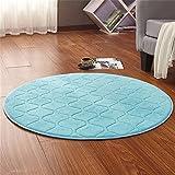 CAMAL Teppiche, Runde Waschbare Koralle Samt Dekorative Teppich Wohnzimmer Schlafzimmer und Bad (120cm, Blau)