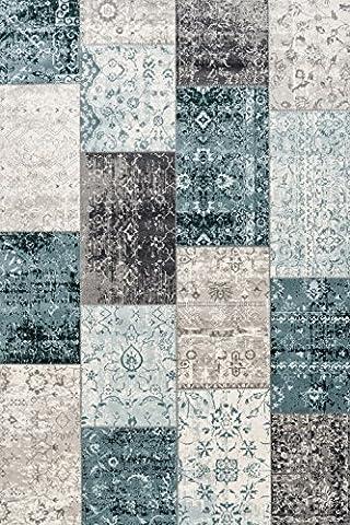 Rug Store Online–Woven Rug–Patchwork Vintage, Dunkelgrau Dunkelblau, Dunkelgrau Dunkelblau: