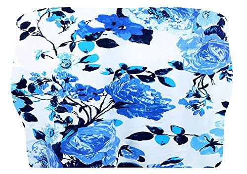 The Celebrity Fashion Damen Top Gr. M/L, White Blue Floral Print - No.5 (Blue Floral Print Top)