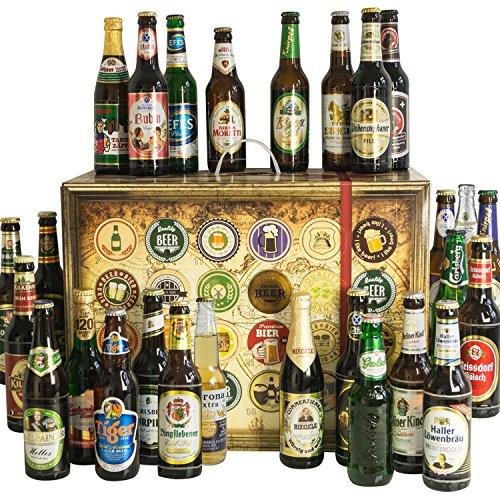 """Preisvergleich Produktbild 24x Biere """"Welt & Deutschland"""" Geschenkbox mit Bier aus USA + Singapur + Spanien +…Budweiser Budvar + Miller + Grolsch +… und aus Deutschland. Tolles Bier Geschenk für Männer mit Biersorten aus ganz Deutschland und aus aller Welt. Besser als Bier selber machen oder selbst brauen. Biergeschenke für Papa + Vater + Väter + Opa + … Vatertag Geschenke für Männer mit Bier. Ideales Geschenk zum Vatertag / Männertag + Vatertagsgeschenke / Männertagsgeschenke mit Bier. Bier Ideen Vatertag"""