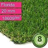 Kunstrasen Rasenteppich Florida für Garten - Florhöhe 20 mm - Gewicht ca. 1860 g/m² - UV-Garantie 8 Jahre (DIN 53387) - 2,00 m x 2,50 m | Rollrasen | Kunststoffrasen