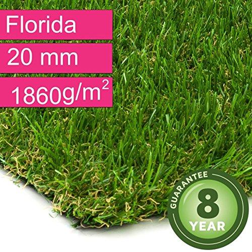 Kunstrasen Rasenteppich Florida für Garten - Florhöhe 20 mm - Gewicht ca. 1860 g/m² - UV-Garantie 8 Jahre (DIN 53387) - 4,00 m x 3,00 m | Rollrasen | Kunststoffrasen