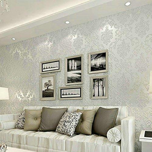 YOYO 3D papel pintado no tejido Damasco simple estilo europeo dormitorio papel tapiz sala de estar TV fondo de pantalla noble comprar tres obtener uno (Color : White)
