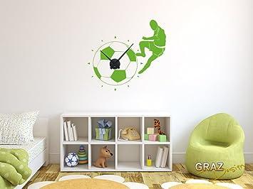 sticker mural décoration avec horloge football pour la chambre d