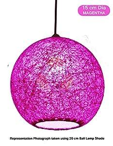 Salebrations 15 cm Dia Magentha Hanging Ball Lamp Shade With Yarn And Led Bulb