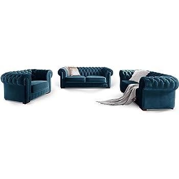 Moebella Chesterfield Sofa Garnitur 3 2 1 Samtstoff Knopfheftung