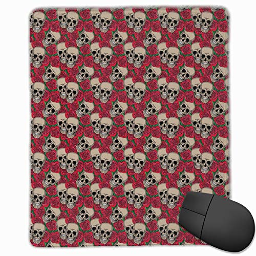 Mouse Mat Stitched Edges, Graphic Skulls And Red Rose Blossoms Halloween Inspired Retro Gothic Pattern,Gaming Mouse Pad Non-Slip Rubber Base Apple Blossom Pattern