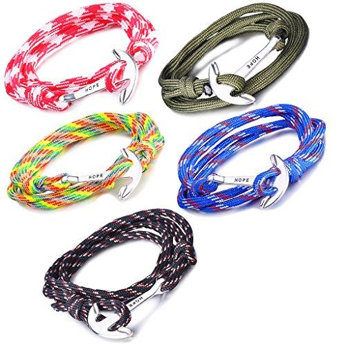 Infinite U Bracelet tressé multi-rangs multicolore Hope l'ancre de navire en Alliage et Nylon corde de coton rouge vert bleu noir et coloré pour femme homme