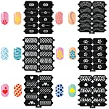 BTArtbox 6 Packs PVC Nail Vinyls Self-adhesive Stencil Stickers Airbrush Stencils Nail Art Set - Heart/Flower/Web/Dot