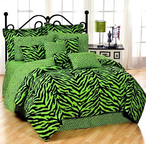 Lime Green Zebra 6 Pc EXTRA LONG TWIN Comforter Set (Comforter, 1 Flat Sheet, 1 Fitted Sheet, 1 Pillow Case, 1 Sham, 1 Bedskirt) SAVE BIG ON BUNDLING! by Kimlor Mills, Inc.