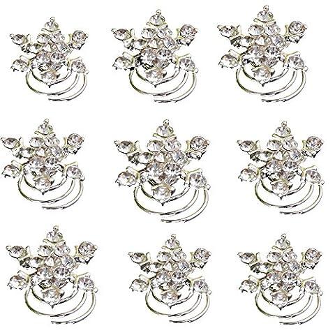 Yantu 12pcs Clear Crystal Snowflake Swirl Hair Twists Coils Spirals Hair Pin Clip Accessories