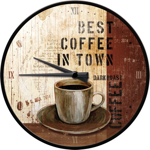 Nostalgic-Art 51048 Coffee & Chocolate - Best Coffee in Town, Wanduhr 31cm