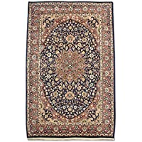 Tradizionale a mano Kashan tappeto persiano, lana, blu scuro, 142x