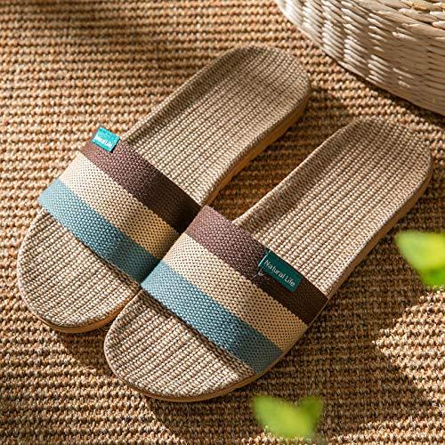 Ameginer Indoor Slippers_Acupoint Paar Leinen Hausschuhe Indoor Wear Toe Großhandel @ Brown_44-45 -