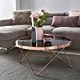 WOHNLING Design:ouchtisch Glasplatte schwarz/Gestell Kupfer ø¸ 82 cm | Wohnzimmertisch verspiegelt Sofatisch modern | Glastisch Kaffeetisch rund Loungetisch