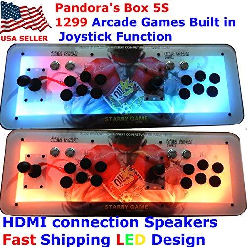 [Englische]Video Spiel-Konsole,Game Konsole Arcade-Maschine 1299 Classic-Spiele, 2 Spieler Pandora es Box 5S mehr Spieler Home Arcade Console 1299 Spiele alle in 1 Non-Jam PCB Doppelstock