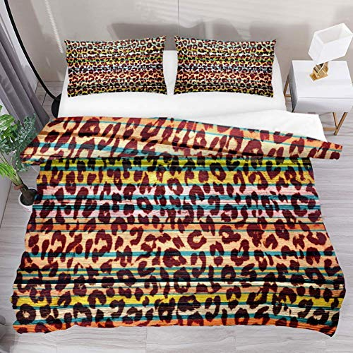 Soefipok Bettwäsche-Bettbezug-Set Buntes, lustiges Art Leopard-bedrucktes Tröster-Set mit 2 Kissenbezügen 3-teilig, 1 Bettbezug mit 2 Kissenbezügen -