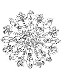 SODIAL(R) Precioso Broche Alfiler Con Diamantes Artificiales En Forma De Flores Para Boda Fiesta