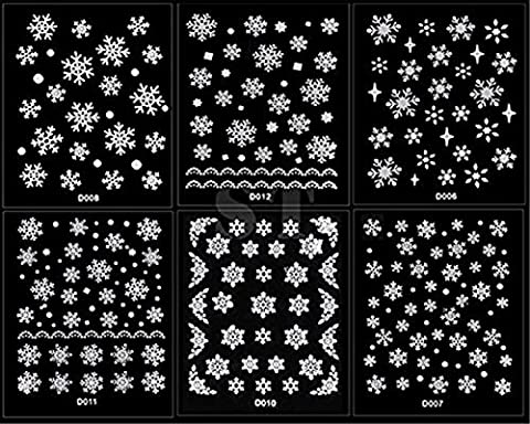 RuiChy 12 Sheet Christmas Snowflakes Design 3D Nail Art Stickers Decals by RuiChy