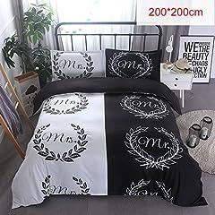 Idea Regalo - SDYDAY lusso 3D stampa nero/bianco set copripiumino, lenzuola, federa (pezzi) per coppia/camera da letto, Black+white (Mr+mrs), 228x228cm