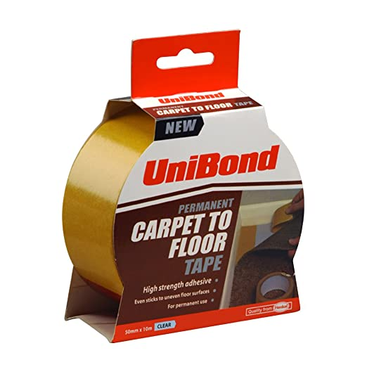 UniBond Permanent Carpet To Floor Tape High Strength Adhesive   50 Mm X 10  M, Clear: Amazon.co.uk: DIY U0026 Tools
