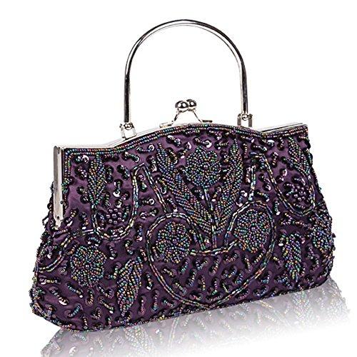 damen abendtasche perlen pailletten design metallrahmen küssen schloss satin clutch taschen. 24 x 22 cm purple